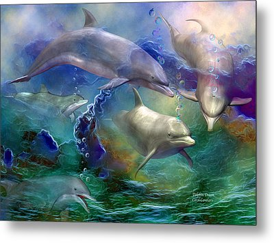 Dolphin Dream Metal Print by Carol Cavalaris