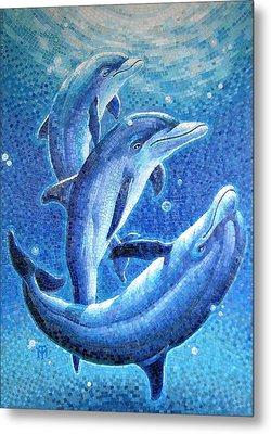 Dolphin Trio Metal Print by Mia Tavonatti