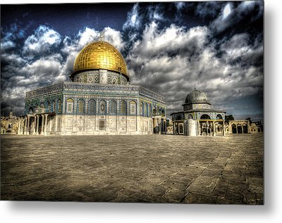 Dome Of The Rock Closeup Hdr Metal Print by David Morefield