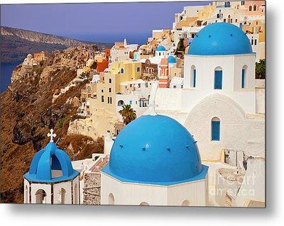 Domes Of Santorini Metal Print by Brian Jannsen