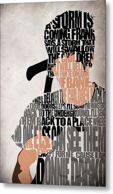Donnie Darko Minimalist Typography Artwork Metal Print by Ayse Deniz