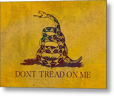 Don't Tread On Me Gadsden Flag Patriotic Emblem On Worn Distressed Yellowed Parchment Metal Print by Design Turnpike