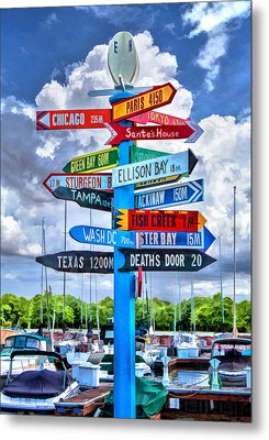 Door County Directional Sign In Egg Harbor Metal Print by Christopher Arndt