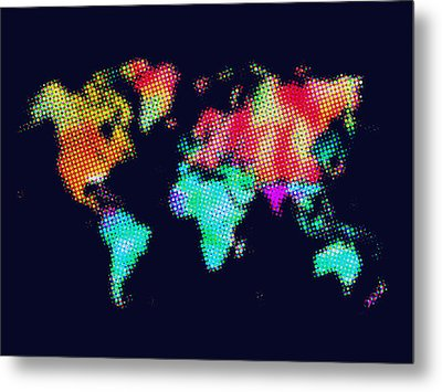 Dotted World Map 3 Metal Print by Naxart Studio