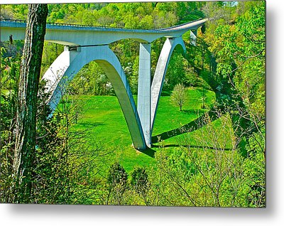Double-arched Bridge Spanning Birdsong Hollow At Mile 438 Of Natchez Trace Parkway-tennessee Metal Print by Ruth Hager