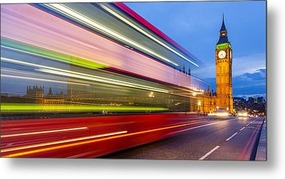 Double Decker And Big Ben Metal Print by Adam Pender