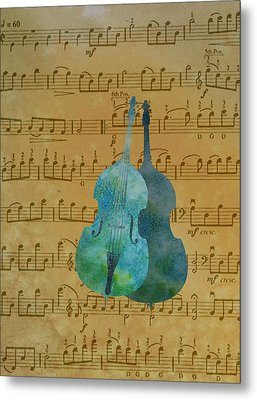 Double Double Bass On Score Metal Print by Jenny Armitage