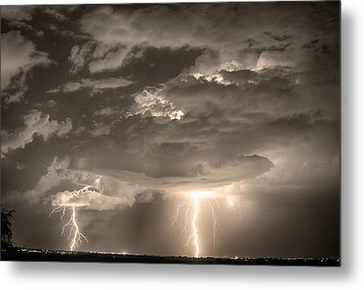 Double Lightning Strikes In Sepia Hdr Metal Print by James BO  Insogna