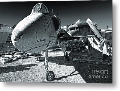 Douglas Skyhawk A-4b - Black And White Metal Print by Gregory Dyer