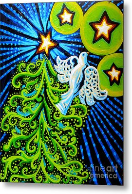 Dove And Christmas Tree Metal Print by Genevieve Esson