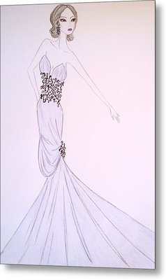 Dove Blue Gown Metal Print by Christine Corretti