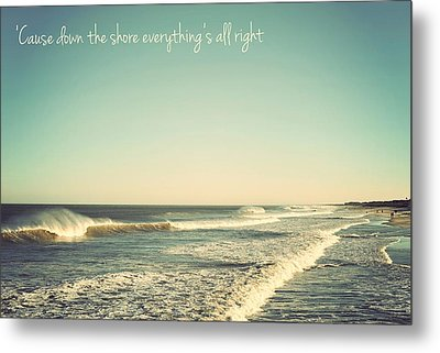 Down The Shore Seaside Heights Vintage Quote Metal Print by Terry DeLuco