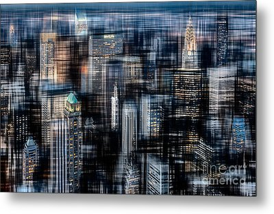 Downtown At Night Metal Print by Hannes Cmarits