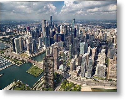 Downtown Chicago Aerial Metal Print by Adam Romanowicz