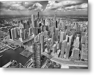 Downtown Chicago Aerial Black And White Metal Print by Adam Romanowicz