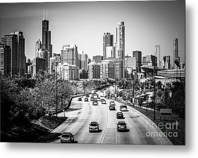 Downtown Chicago Lake Shore Drive In Black And White Metal Print by Paul Velgos