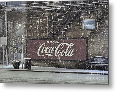 Downtown Covered In Snow Metal Print by Benanne Stiens