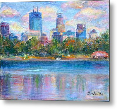 Downtown Minneapolis Skyline From Lake Calhoun Metal Print by Quin Sweetman