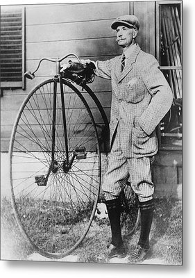 Dr. Kendall With His Bicycle Metal Print by Underwood Archives