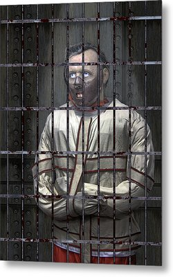 Dr. Lecter Restrained Metal Print by Daniel Hagerman