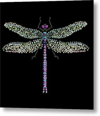 Dragonfly Bedazzled Metal Print by R  Allen Swezey