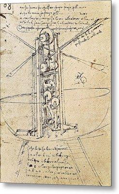 Drawing By Leonardo Da Vinci.. Flying Metal Print by Everett