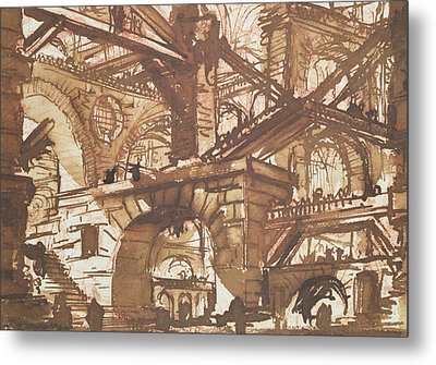 Drawing Of An Imaginary Prison Metal Print by Giovanni Battista Piranesi