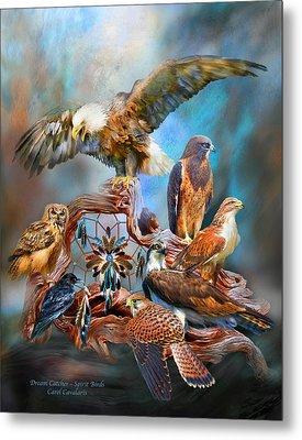 Dream Catcher - Spirit Birds Metal Print by Carol Cavalaris