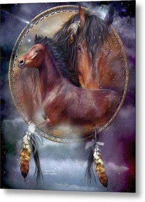 Dream Catcher - Spirit Horse Metal Print by Carol Cavalaris