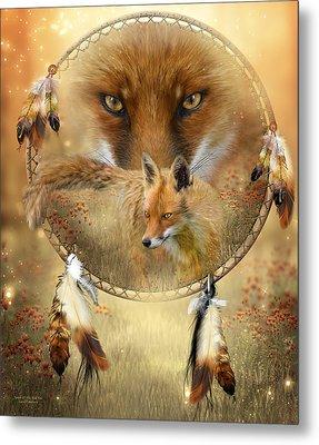 Dream Catcher- Spirit Of The Red Fox Metal Print by Carol Cavalaris