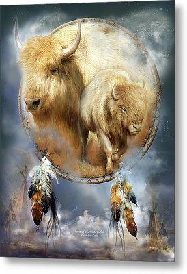 Dream Catcher - Spirit Of The White Buffalo Metal Print by Carol Cavalaris