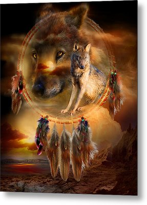 Dream Catcher - Wolfland Metal Print by Carol Cavalaris