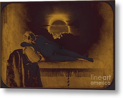 Dreaming Of The New Dawn. Reclining Nude Bathed In Blue. Metal Print by Peter Mix and Gustave Le Gray