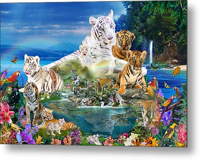 Dreaming Of Tigers  Variation  Metal Print by Alixandra Mullins