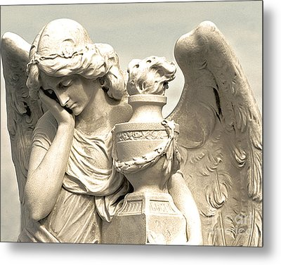 Dreamy Angel Photograph Golden Wings - Ethereal Peaceful Angel Art Metal Print by Kathy Fornal