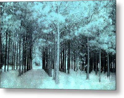 Dreamy Aqua Mint Teal Fantasy Fairytale Trees Woodlands And Stars Metal Print by Kathy Fornal