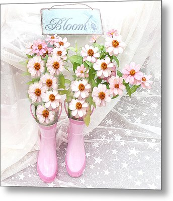 Dreamy Cottage Garden Art - Shabby Chic Pink Flowers Garden Bloom With Pink Rain Boots Metal Print by Kathy Fornal