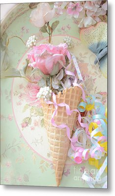Dreamy Cottage Shabby Chic Romantic Floral Art With Waffle Cone And Party Ribbons Metal Print by Kathy Fornal