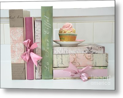 Dreamy Romantic Pastel Shabby Chic Cottage Chic Books With Pink Cupcake - Food Photography Metal Print by Kathy Fornal