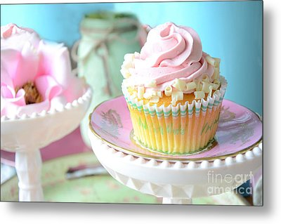 Dreamy Shabby Chic Cupcake Vintage Romantic Food And Floral Photography - Pink Teal Aqua Blue  Metal Print by Kathy Fornal