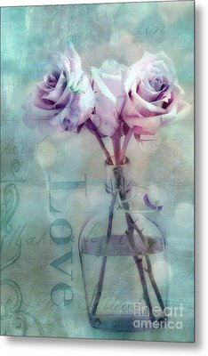 Dreamy Shabby Chic Pink Roses Teal Aqua Impressionistic Cottage Pink And Teal Love Print Metal Print by Kathy Fornal