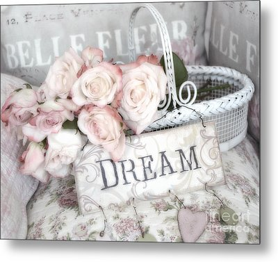 Dreamy Shabby Chic Romantic Cottage Chic Roses In White Basket  Metal Print by Kathy Fornal
