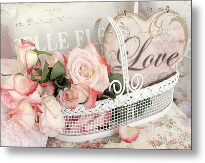 Dreamy Shabby Chic Roses In Cottage White Basket - Roses And Love Heart Metal Print by Kathy Fornal
