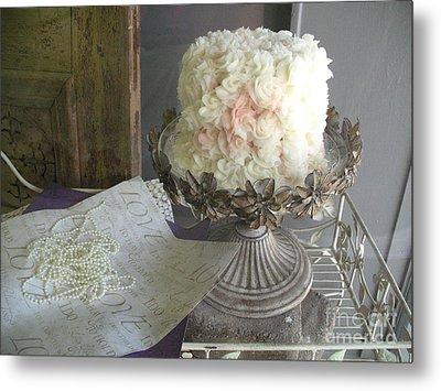 Dreamy White Wedding Cake On Vintage Pedestal Stand - Beautiful Shabby Chic White Wedding Cake  Metal Print by Kathy Fornal