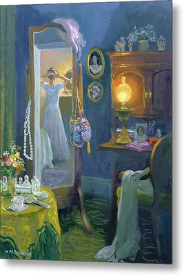 Dressing Room Victorian Style Oil On Board Metal Print by William Ireland