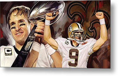 Drew Brees New Orleans Saints Quarterback Artwork Metal Print by Sheraz A