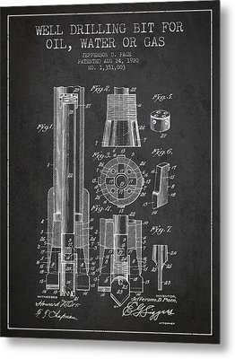 Drilling Bit For Oil Water Gas Patent From 1920 - Dark Metal Print by Aged Pixel