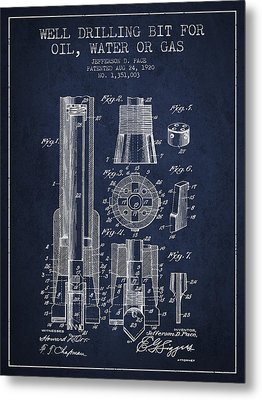 Drilling Bit For Oil Water Gas Patent From 1920 - Navy Blue Metal Print by Aged Pixel