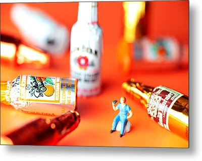 Drinking Among Liquor Filled Chocolate Bottles Metal Print by Paul Ge