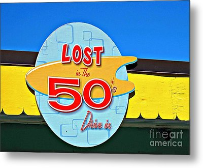 Drive-in Diner Sign				 Metal Print by Ethna Gillespie